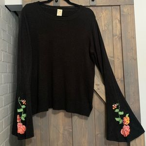 Embroidered flower sweater with bell sleeves